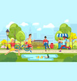 people doing sport in city park vector image vector image
