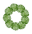 philodendron monstera leaf wreath vector image vector image