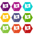 pirate flag icon set color hexahedron vector image vector image