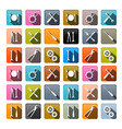 Retro Icons - Cogs Gears Screwdriver Pincers vector image