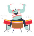 rhino playing drums music instrument at zoo rock vector image vector image