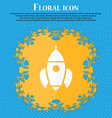 Rocket icon Floral flat design on a blue abstract vector image