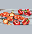 salmon and veggies watercolor fresh fish with vector image vector image