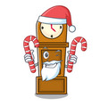 santa with candy grandfather clock mascot cartoon vector image