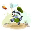 Scout raccoon butterfly catches Entomologist with vector image