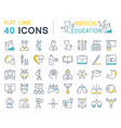 set flat line icons medical education vector image vector image