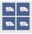 set icons with delivery car on square vector image vector image