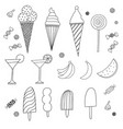 set of caroon candies ice-cream and fruits vector image