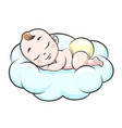 sleeping baby on cloud vector image