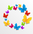 Spring card with colorful butterflies circle vector image vector image