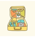 Suitcase with clothes flip flops camera and vector image vector image