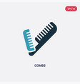 two color combs icon from tools and utensils vector image vector image