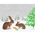 winter landscape forest with snow rabbit vector image vector image