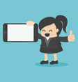 business woman showing smartphone vector image
