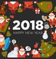 happy new year cartoon santa celebrating holidays vector image