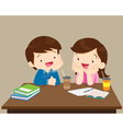 students boy and girl sitting friendly vector image
