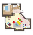 architectural flat plan top view with living rooms vector image vector image
