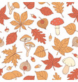 autumn seamless pattern with oak poplar leaves vector image vector image