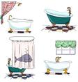 bathtubs cartoon style bathroom interior element vector image vector image