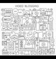blogger and blogging thin line concept vector image