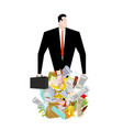 businessman in garbage heap boss in pile rubbish vector image vector image