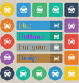 Car icon sign Set of twenty colored flat round vector image vector image