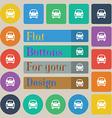 Car icon sign Set of twenty colored flat round vector image