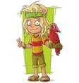 Cartoon hippie man with red bird vector image vector image