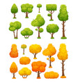 cartoon tree cute wood plants and bushes green vector image vector image
