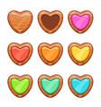 cartoon wooden hearts set vector image