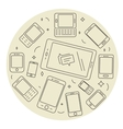 Cell phones and pad circle set vector image