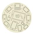Cell phones and pad circle set vector image vector image