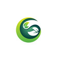 circle green leaves nature eco element logo icon vector image vector image