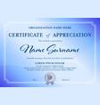 classic certificate appreciation template blue vector image vector image