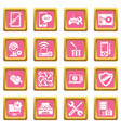 computer repair service icons set pink square vector image vector image