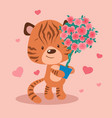 Cute cartoon tiger with a topiary in a pot of