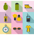 diving icons set flat style vector image