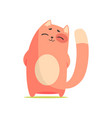 funny happy red cat standing with his paws folded vector image vector image