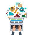 hand businessman work digital marketing vector image vector image