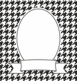 Hand drawn frame on houndstooth black and white vector image