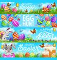 happy easter egg hunt cartoon bunnies vector image