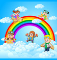 happy kid playing cardboard plane with sky scenery vector image vector image