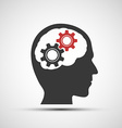 icon of human head with mechanical gears vector image
