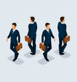 isometric businessman front view rear view vector image vector image