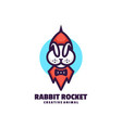 logo rabbit rocket simple mascot style vector image