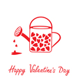 Love watering can with hearts Happy Valentines Day vector image vector image