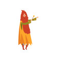 male sorcerer conjuring with magic wand redhead vector image vector image