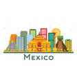 mexico city skyline with color buildings isolated vector image
