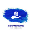 money in hand icon - blue watercolor background vector image vector image