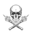 monochrome skull and crossed bony vector image vector image